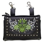 Studded Green & White Skull Leather Hip Bag