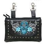 Studded Teal Blue Skull Leather Hip Bag Purse