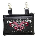 Studded Red White Butterfly Leather Hip Bag