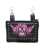 Studded Pink & White Sugar Skull Leather Hip Bag