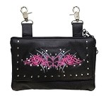 Hot Pink Hip Bag Purse with Butterfly and Studs
