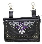Hip Bag Purse with Purple/Gray Eagle and Studs
