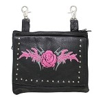 Studded Pink Rose Leather Hip Bag Purse