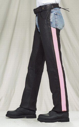 Women's Pink Stripe Reflective Piping Leather Chaps