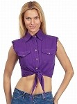 Ladies Purple Denim Sleeveless Shirt with Buttons