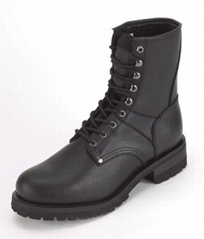 Men's Leather Motorcycle Boots with Front Laces