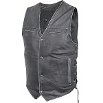 Men's Black Distressed Leather Biker Motorcycle Vest