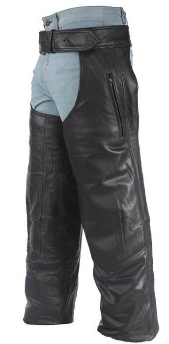 Leather Biker Chaps With Zipper Pocket