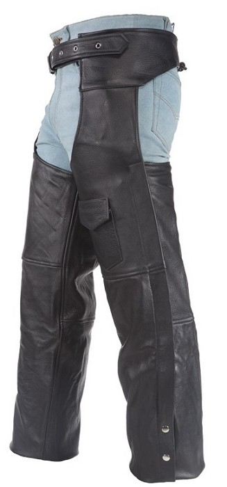Insulated Leather Motorcycle Chaps with Side Zippers