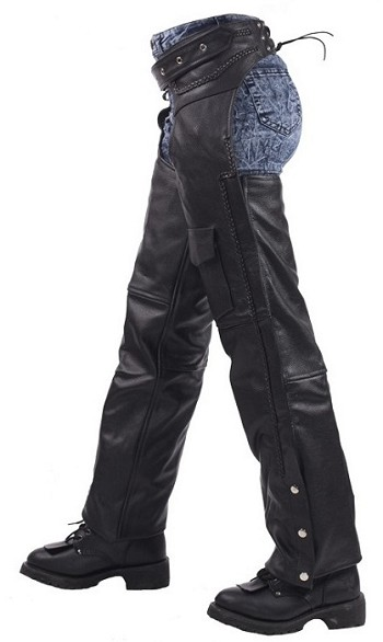 Braided Leather Chaps With Insulated Liner