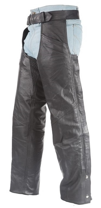 Top Grade Gathered Leather Chaps with Zipper