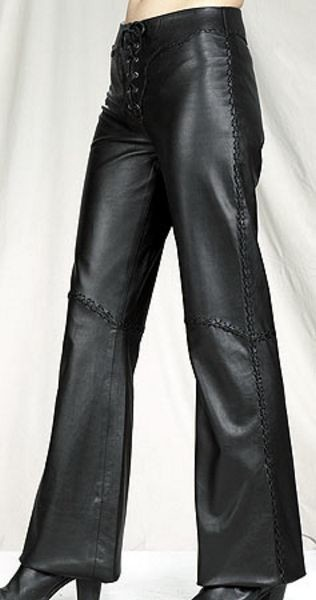 Womens Front Lace Hip Hugger Leather Pants