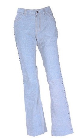Womens Blue Denim Look Leather Pants with Studs