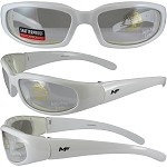Motorcycle Sunglasses White Frame Clear Lenses