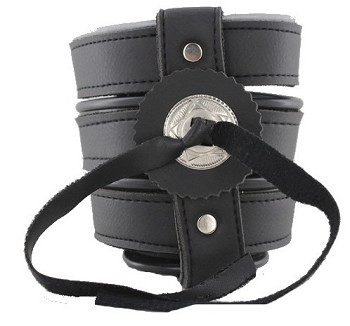 Leather Motorcycle Drink Cup Holder With Concho