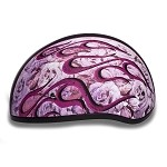 DOT Motorcycle Half Helmet with Pink Flames