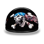 DOT Motorcycle Half Helmet with Patriot Skull