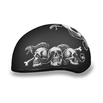 DOT Motorcycle Half Helmet with Snakes and Skulls