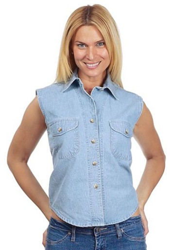Womens Light Blue Denim Sleeveless Shirt With Buttons