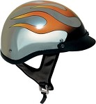 DOT Chrome Motorcycle Half Helmet With Flames