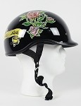 DOT Lady Rider Black Polo Style Motorcycle Helmet