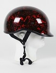 DOT Polo Style Red Boneyard Motorcycle Helmet