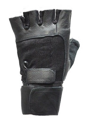 Fingerless Leather Motorcycle Gloves with Dual Straps