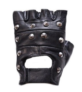 Studded Fingerless Leather Motorcycle Gloves