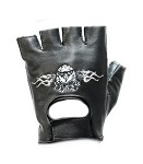 Eagle In Flames Fingerless Leather Motorcycle Gloves