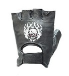 Skull in Flames Biker Fingerless Motorcycle Gloves