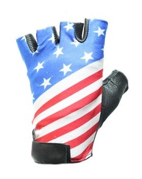 USA Flag Fingerless Leather Motorcycle Gloves