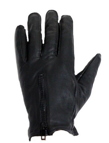 Lined Leather Motorcycle Gloves with Zipper