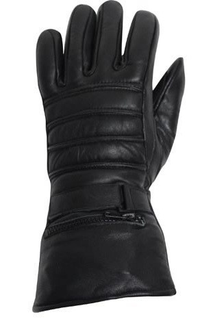 Leather Motorcycle Gauntlet Gloves with Rain Cover