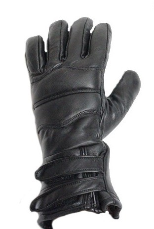 Leather Motorcycle Gauntlet Gloves With Lining
