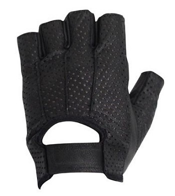 Fingerless Gel Palm Vented Leather Motorcycle Gloves