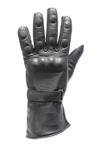 Leather Gauntlet Gloves With Hard Knuckle Protector