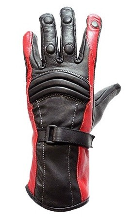 Womens Black and Red Insulated Leather Gloves