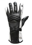 Womens Black and White Insulated Leather Gloves