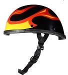 Black Novelty Motorcycle Helmet With Orange Flames