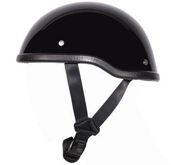 Gloss Black Motorcycle Novelty Skull Cap Helmet