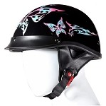 DOT Motorcycle Half Helmet With Tribal Butterfly