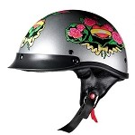 DOT Women's Motorcycle Half Helmet with Pink Roses