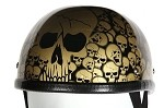 Gold Boneyard Novelty Motorcycle Helmet with Skulls