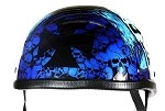 Blue Boneyard Chopper Cross Novelty Motorcycle Helmet