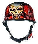 Orange Skull Graveyard Chopper Cross Novelty Helmet