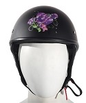 Womens Purple Rose Novelty Motorcycle Helmet