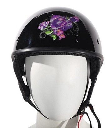 Womens Purple Rose Novelty Motorcycle Helmets