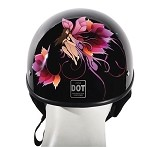 DOT Motorcycle Half Helmet with Fairy and Tribal Flowers