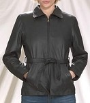 Womens Leather Jacket With Full Wrap Around Belt