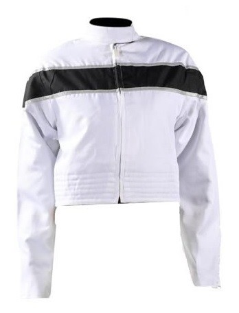 Women's White/Black Textile Motorcycle Jacket